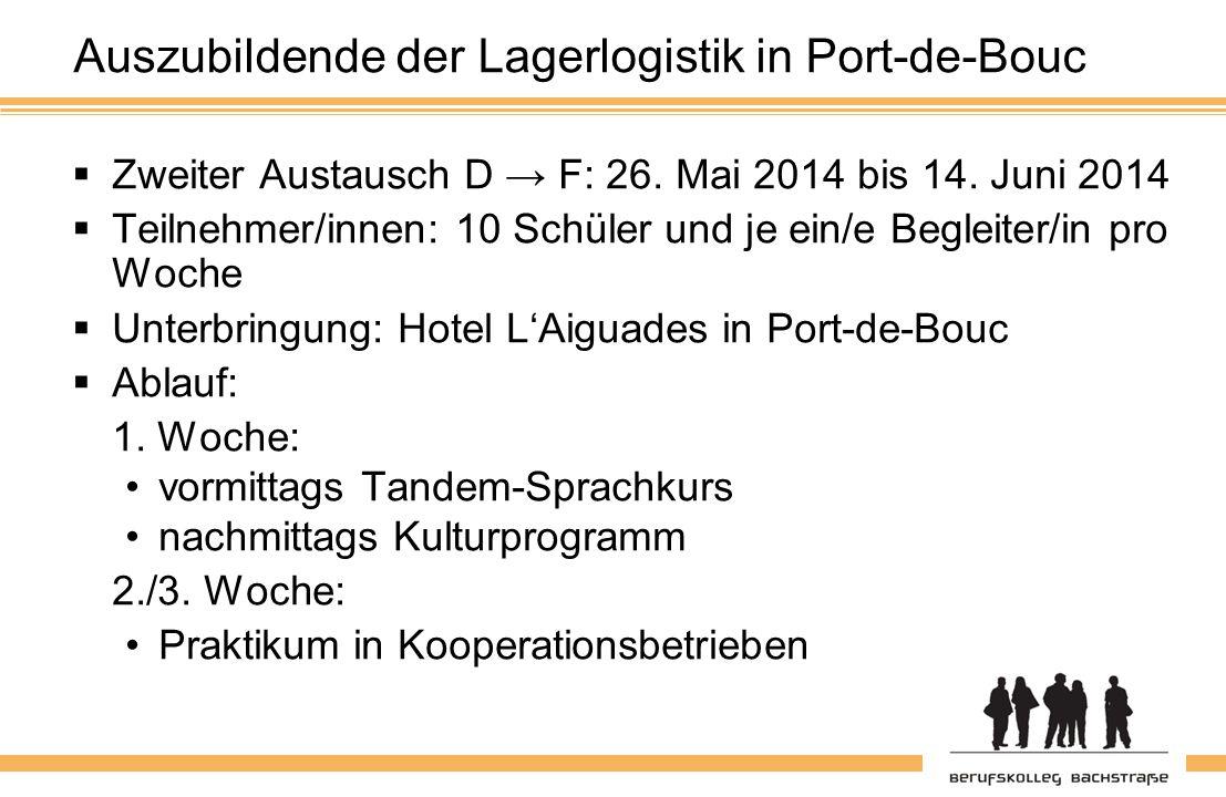 Auszubildende der Lagerlogistik in Port-de-Bouc  Zweiter Austausch D → F: 26.