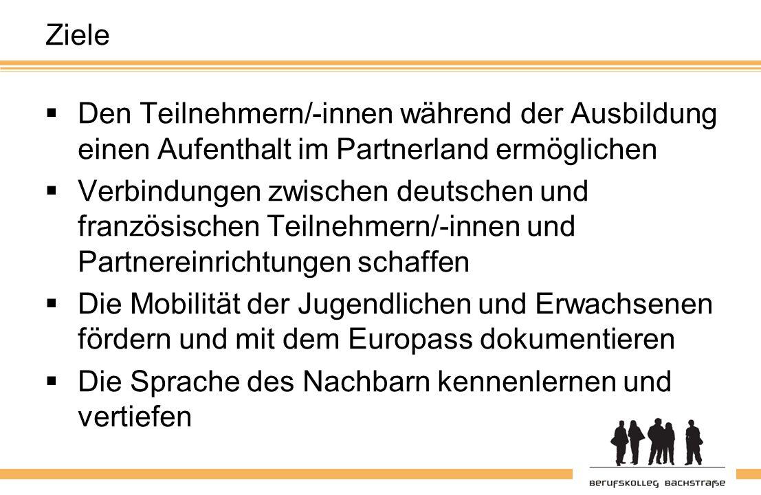 Ziele  Den Teilnehmern/-innen während der Ausbildung einen Aufenthalt im Partnerland ermöglichen  Verbindungen zwischen deutschen und französischen Teilnehmern/-innen und Partnereinrichtungen schaffen  Die Mobilität der Jugendlichen und Erwachsenen fördern und mit dem Europass dokumentieren  Die Sprache des Nachbarn kennenlernen und vertiefen