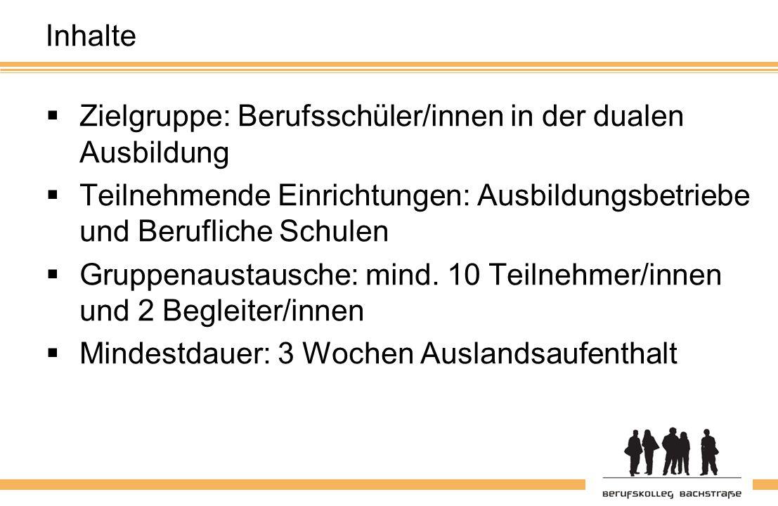 Inhalte  Zielgruppe: Berufsschüler/innen in der dualen Ausbildung  Teilnehmende Einrichtungen: Ausbildungsbetriebe und Berufliche Schulen  Gruppenaustausche: mind.
