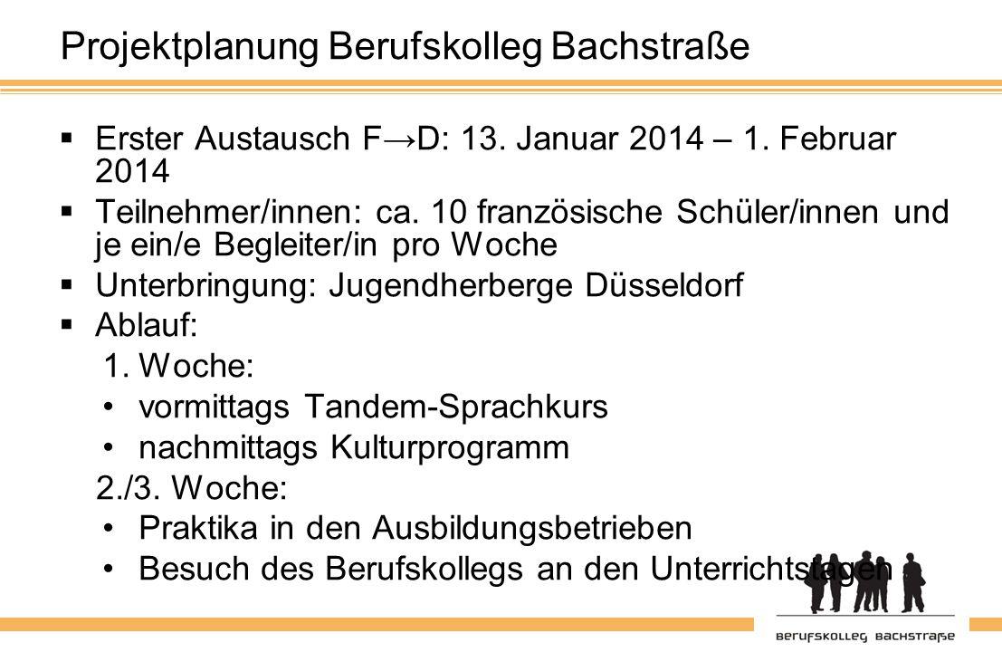 Projektplanung Berufskolleg Bachstraße  Erster Austausch F→D: 13.