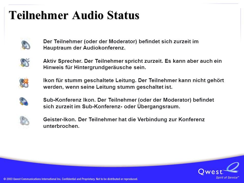 Teilnehmer Audio Status Der Teilnehmer (oder der Moderator) befindet sich zurzeit im Hauptraum der Audiokonferenz.