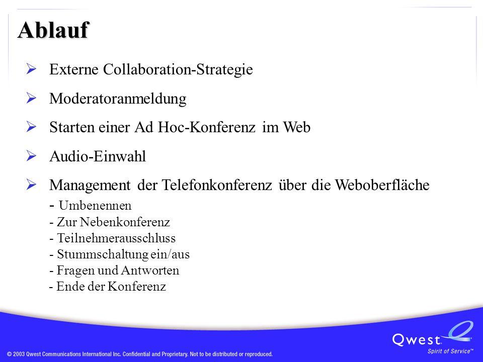 Ablauf  Externe Collaboration-Strategie  Moderatoranmeldung  Starten einer Ad Hoc-Konferenz im Web  Audio-Einwahl  Management der Telefonkonferenz über die Weboberfläche - Umbenennen - Zur Nebenkonferenz - Teilnehmerausschluss - Stummschaltung ein/aus - Fragen und Antworten - Ende der Konferenz