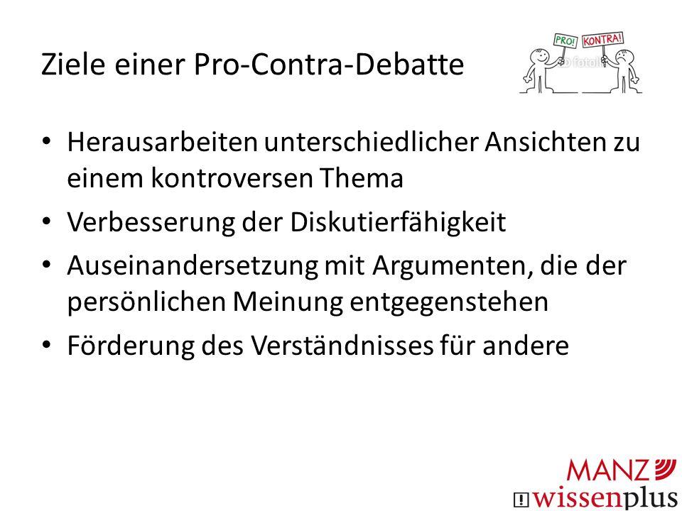 """Teilnehmer/innen Diskussionsleiter/in Gruppe """"Pro Gruppe """"Contra Jury"""