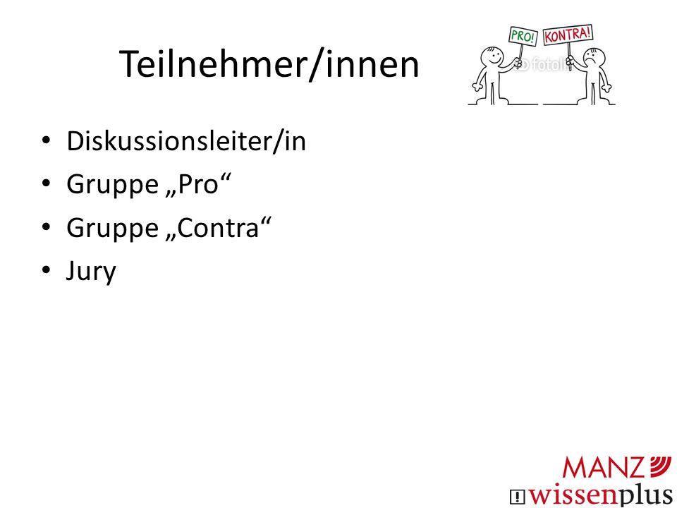 Ablauf Eröffnung 1.Redner Pro (1 Minute) Diskussion in der Contra-Gruppe (1 Minute)1.