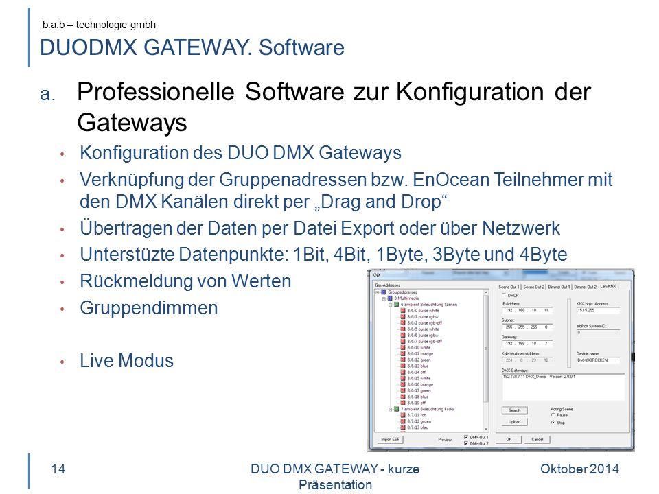 b.a.b – technologie gmbh DUODMX GATEWAY. Software a. Professionelle Software zur Konfiguration der Gateways Konfiguration des DUO DMX Gateways Verknüp