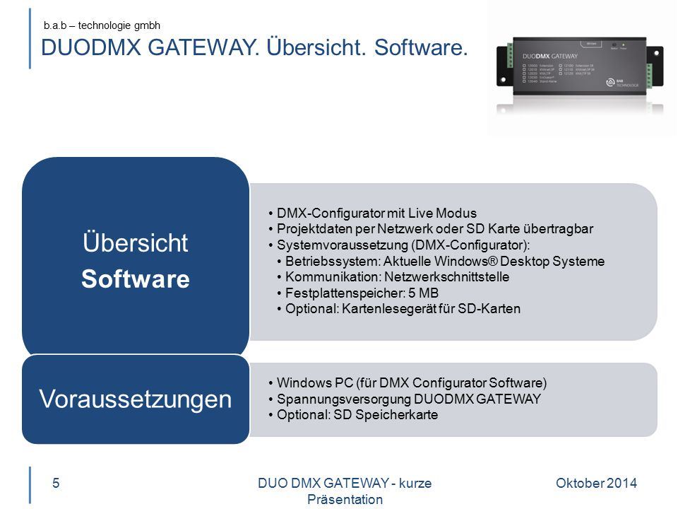 b.a.b – technologie gmbh DUODMX GATEWAY.Highlights.