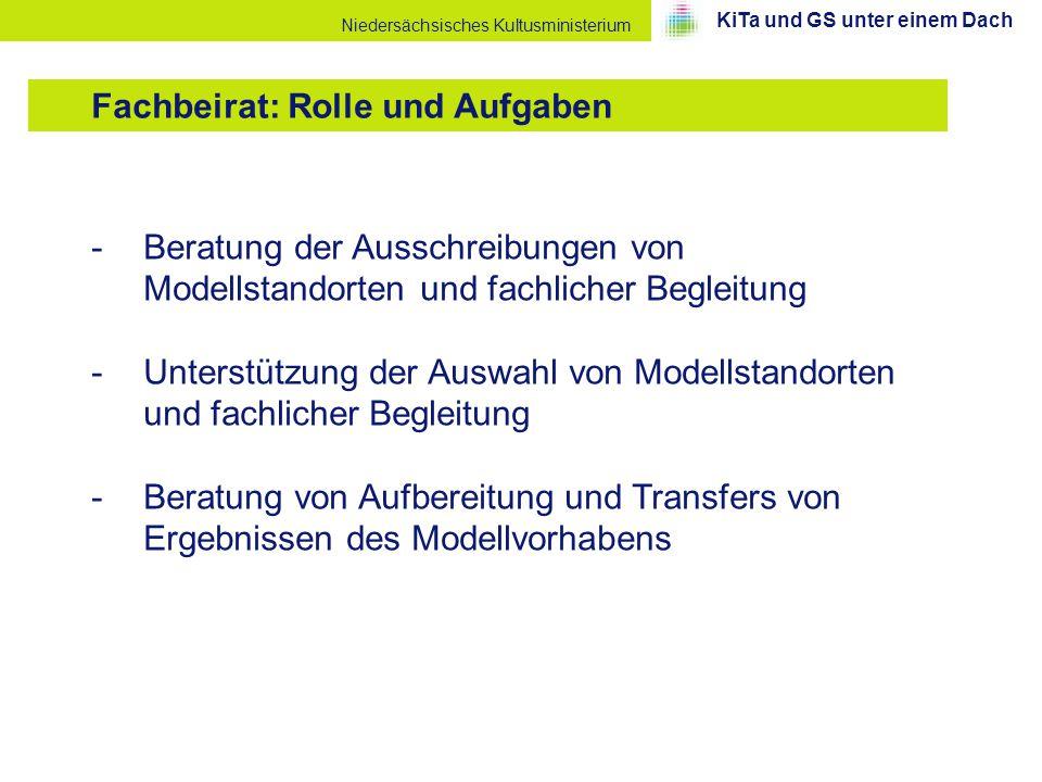 Niedersächsisches Kultusministerium -Beratung der Ausschreibungen von Modellstandorten und fachlicher Begleitung -Unterstützung der Auswahl von Modell