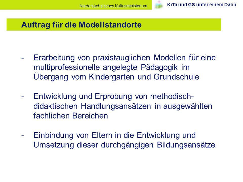 Niedersächsisches Kultusministerium -Erarbeitung von praxistauglichen Modellen für eine multiprofessionelle angelegte Pädagogik im Übergang vom Kinder