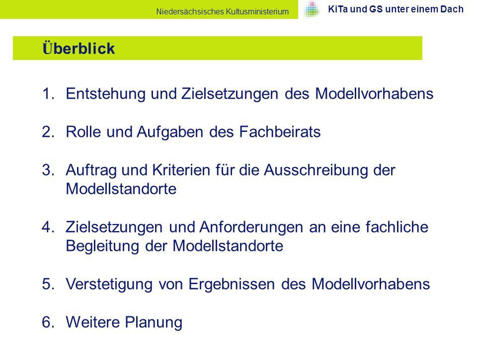 Niedersächsisches Kultusministerium 1.Entstehung und Zielsetzungen des Modellvorhabens 2.Rolle und Aufgaben des Fachbeirats 3.Auftrag und Kriterien fü