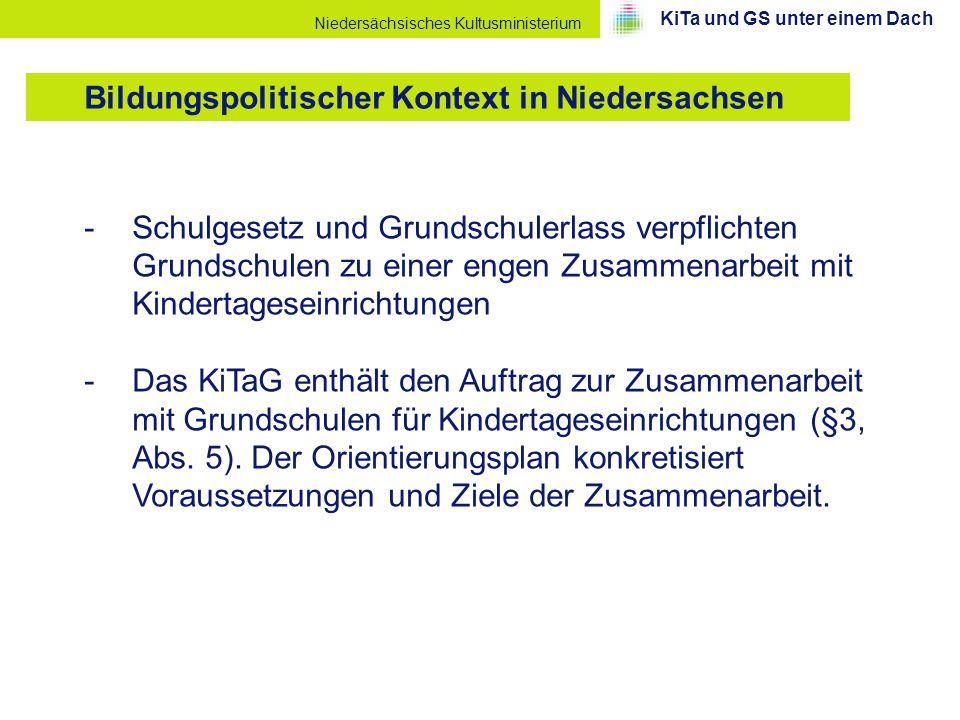 Niedersächsisches Kultusministerium -Schulgesetz und Grundschulerlass verpflichten Grundschulen zu einer engen Zusammenarbeit mit Kindertageseinrichtu