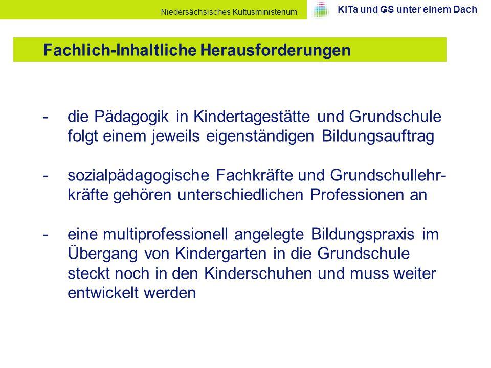 Niedersächsisches Kultusministerium -die Pädagogik in Kindertagestätte und Grundschule folgt einem jeweils eigenständigen Bildungsauftrag -sozialpädag