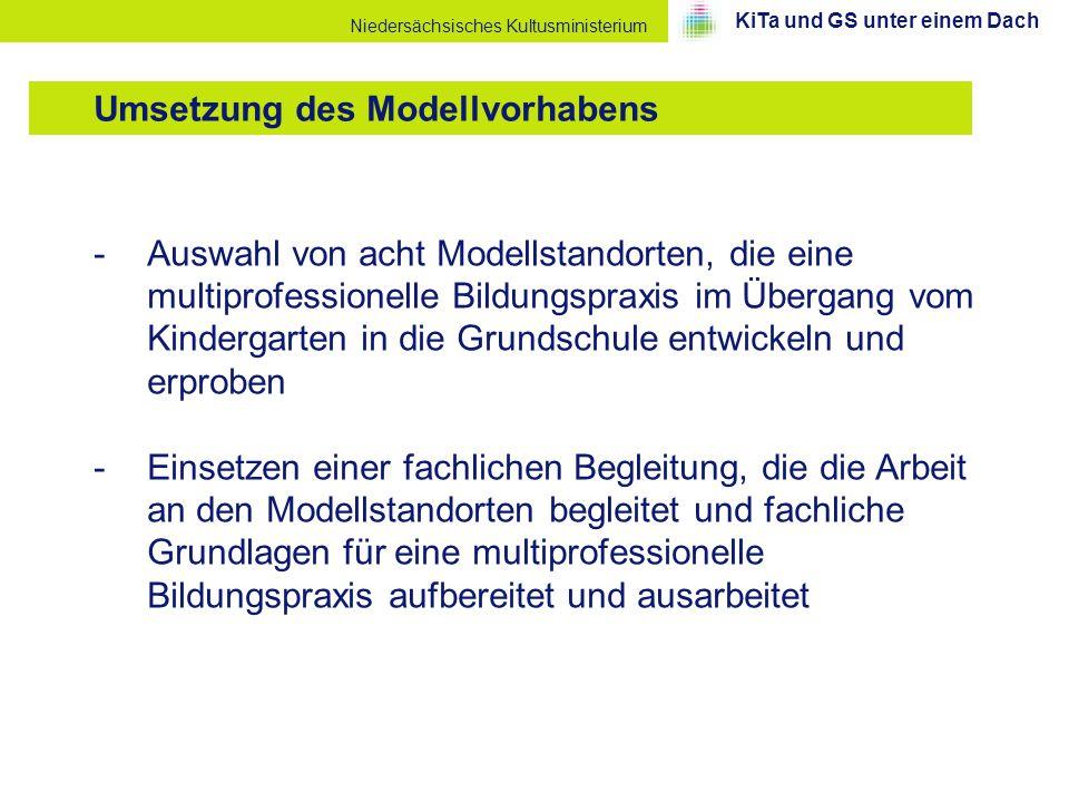Niedersächsisches Kultusministerium -Auswahl von acht Modellstandorten, die eine multiprofessionelle Bildungspraxis im Übergang vom Kindergarten in di
