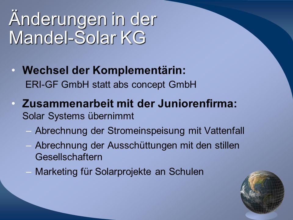 Änderungen in der Mandel-Solar KG Wechsel der Komplementärin: ERI-GF GmbH statt abs concept GmbH Zusammenarbeit mit der Juniorenfirma: Solar Systems ü