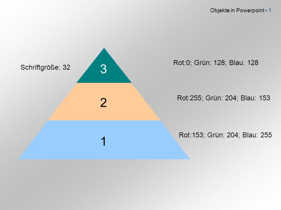 Objekte in Powerpoint - 1 3 2 1 Rot:0; Grün: 128; Blau: 128 Rot:255; Grün: 204; Blau: 153 Rot:153; Grün: 204; Blau: 255 Schriftgröße: 32