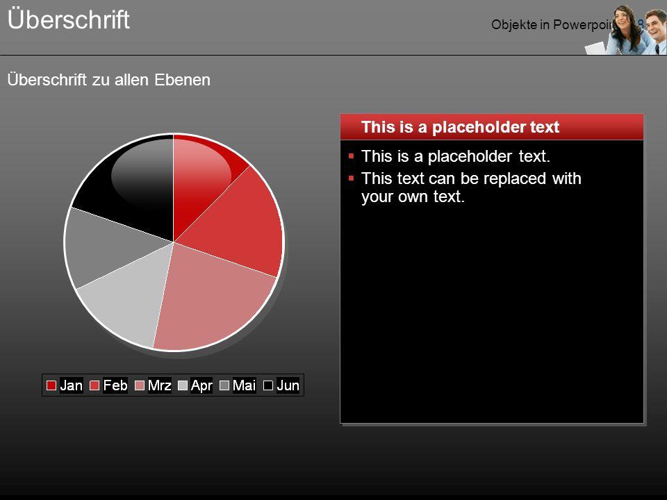 Objekte in Powerpoint - 18 Überschrift zu allen Ebenen Überschrift This is a placeholder text  This is a placeholder text.  This text can be replace