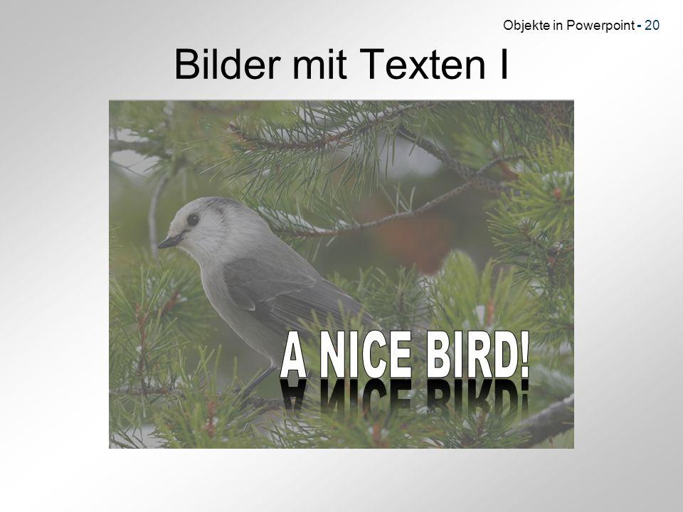 Objekte in Powerpoint - 20 Bilder mit Texten I