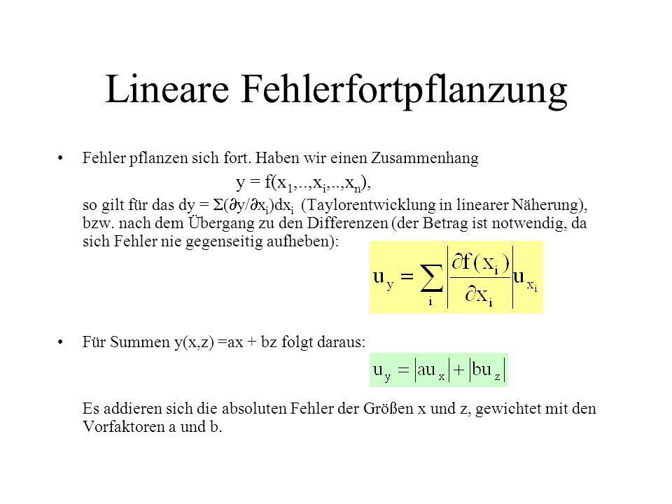Lineare Fehlerfortpflanzung Fehler pflanzen sich fort. Haben wir einen Zusammenhang y = f(x 1,..,x i,..,x n ), so gilt für das dy =  (  y/  x i )dx