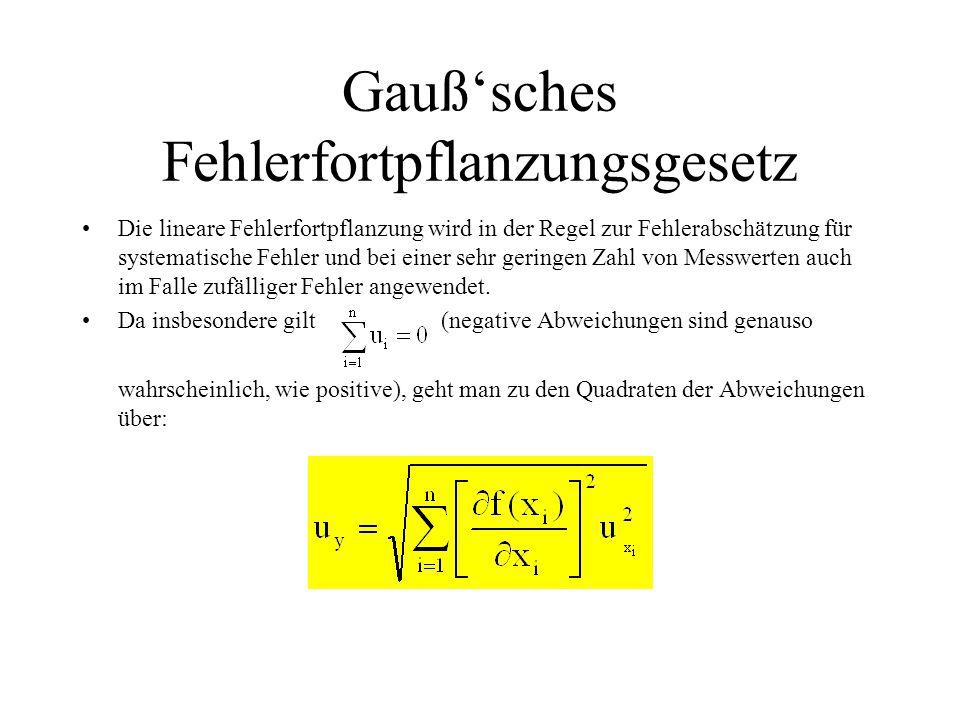 Gauß'sches Fehlerfortpflanzungsgesetz Die lineare Fehlerfortpflanzung wird in der Regel zur Fehlerabschätzung für systematische Fehler und bei einer sehr geringen Zahl von Messwerten auch im Falle zufälliger Fehler angewendet.