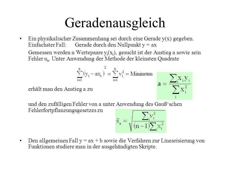 Geradenausgleich Ein physikalischer Zusammenhang sei durch eine Gerade y(x) gegeben. Einfachster Fall: Gerade durch den Nullpunkt y = ax Gemessen werd