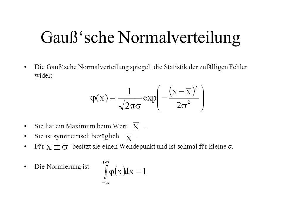 Gauß'sche Normalverteilung Die Gauß'sche Normalverteilung spiegelt die Statistik der zufälligen Fehler wider: Sie hat ein Maximum beim Wert. Sie ist s