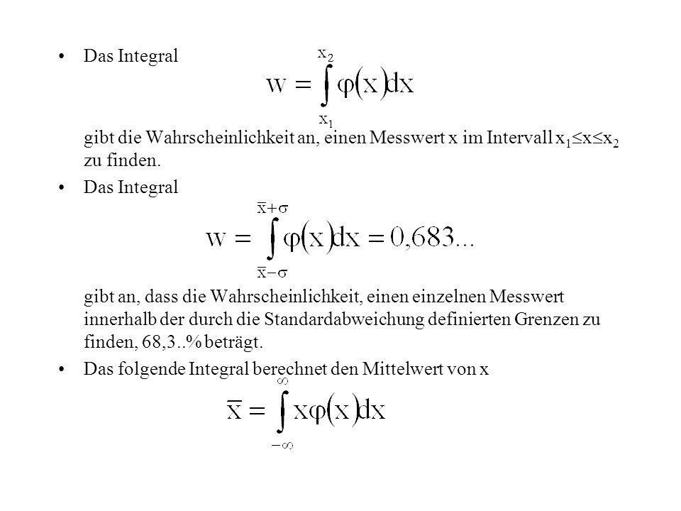 Das Integral gibt die Wahrscheinlichkeit an, einen Messwert x im Intervall x 1  x  x 2 zu finden. Das Integral gibt an, dass die Wahrscheinlichkeit,