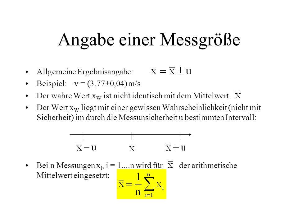 Angabe einer Messgröße Allgemeine Ergebnisangabe: Beispiel: v = (3,77  0,04) m/s Der wahre Wert x W ist nicht identisch mit dem Mittelwert Der Wert x W liegt mit einer gewissen Wahrscheinlichkeit (nicht mit Sicherheit) im durch die Messunsicherheit u bestimmten Intervall: Bei n Messungen x i, i = 1....n wird für der arithmetische Mittelwert eingesetzt: