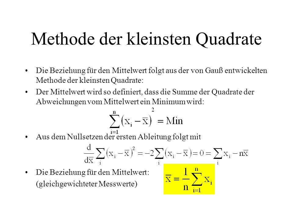 Methode der kleinsten Quadrate Die Beziehung für den Mittelwert folgt aus der von Gauß entwickelten Methode der kleinsten Quadrate: Der Mittelwert wir