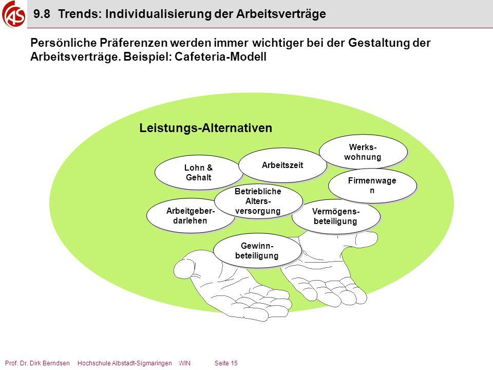 Prof. Dr. Dirk Berndsen Hochschule Albstadt-Sigmaringen WIN Seite 15 Lohn & Gehalt Arbeitszeit Werks- wohnung Gewinn- beteiligung Vermögens- beteiligu