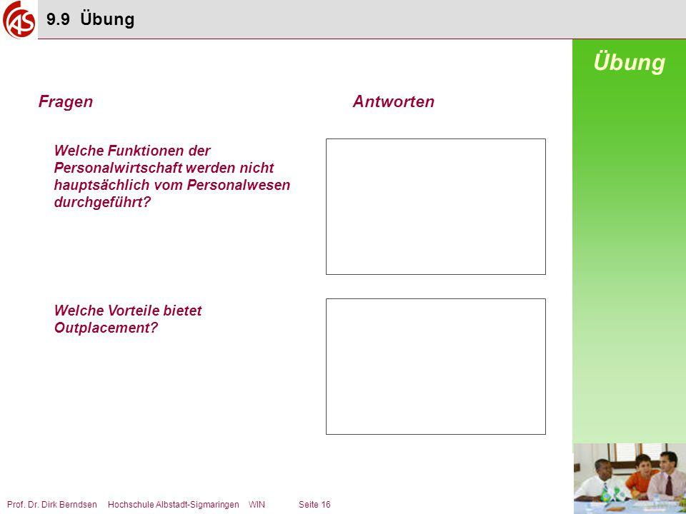 Prof. Dr. Dirk Berndsen Hochschule Albstadt-Sigmaringen WIN Seite 16 Welche Funktionen der Personalwirtschaft werden nicht hauptsächlich vom Personalw