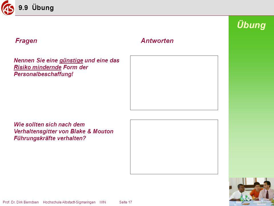 Prof. Dr. Dirk Berndsen Hochschule Albstadt-Sigmaringen WIN Seite 17 Nennen Sie eine günstige und eine das Risiko mindernde Form der Personalbeschaffu