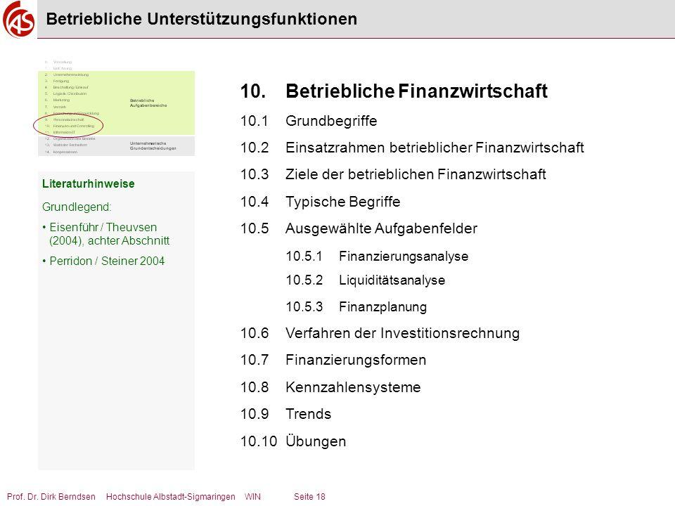 Prof. Dr. Dirk Berndsen Hochschule Albstadt-Sigmaringen WIN Seite 18 Betriebliche Unterstützungsfunktionen 10.Betriebliche Finanzwirtschaft 10.1Grundb