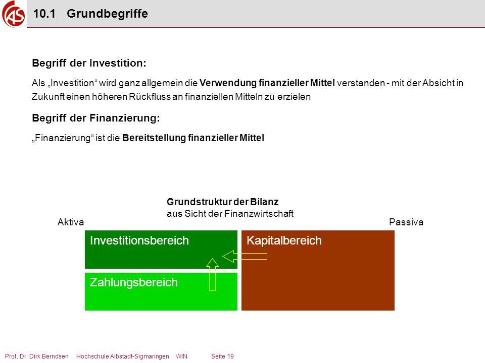"""Prof. Dr. Dirk Berndsen Hochschule Albstadt-Sigmaringen WIN Seite 19 Begriff der Investition: Als """"Investition"""" wird ganz allgemein die Verwendung fin"""
