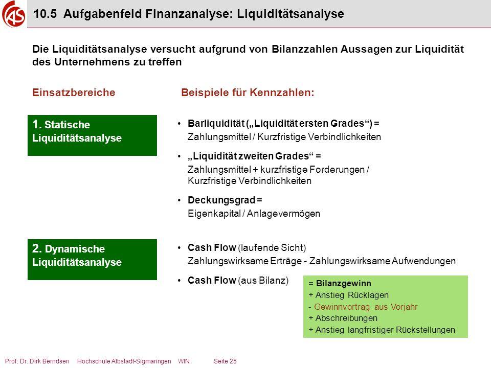 Prof. Dr. Dirk Berndsen Hochschule Albstadt-Sigmaringen WIN Seite 25 10.5 Aufgabenfeld Finanzanalyse: Liquiditätsanalyse Die Liquiditätsanalyse versuc