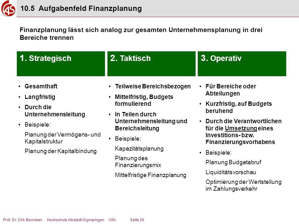 Prof. Dr. Dirk Berndsen Hochschule Albstadt-Sigmaringen WIN Seite 26 10.5 Aufgabenfeld Finanzplanung Finanzplanung lässt sich analog zur gesamten Unte