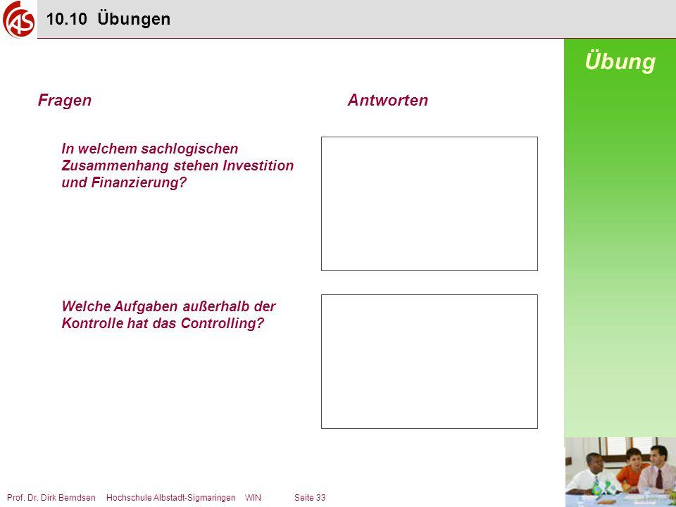Prof. Dr. Dirk Berndsen Hochschule Albstadt-Sigmaringen WIN Seite 33 In welchem sachlogischen Zusammenhang stehen Investition und Finanzierung? Welche