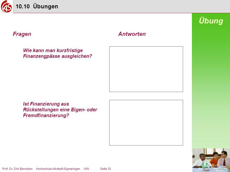 Prof. Dr. Dirk Berndsen Hochschule Albstadt-Sigmaringen WIN Seite 35 Wie kann man kurzfristige Finanzengpässe ausgleichen? Ist Finanzierung aus Rückst
