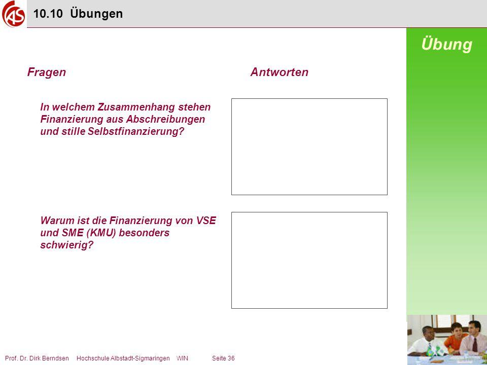 Prof. Dr. Dirk Berndsen Hochschule Albstadt-Sigmaringen WIN Seite 36 In welchem Zusammenhang stehen Finanzierung aus Abschreibungen und stille Selbstf