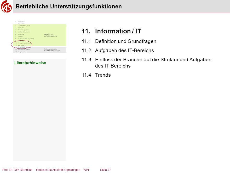Prof. Dr. Dirk Berndsen Hochschule Albstadt-Sigmaringen WIN Seite 37 Betriebliche Unterstützungsfunktionen Literaturhinweise 11.Information / IT 11.1D