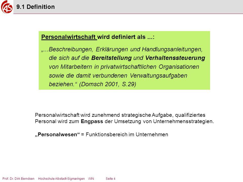 """Prof. Dr. Dirk Berndsen Hochschule Albstadt-Sigmaringen WIN Seite 4 Personalwirtschaft wird definiert als...: """"...Beschreibungen, Erklärungen und Hand"""