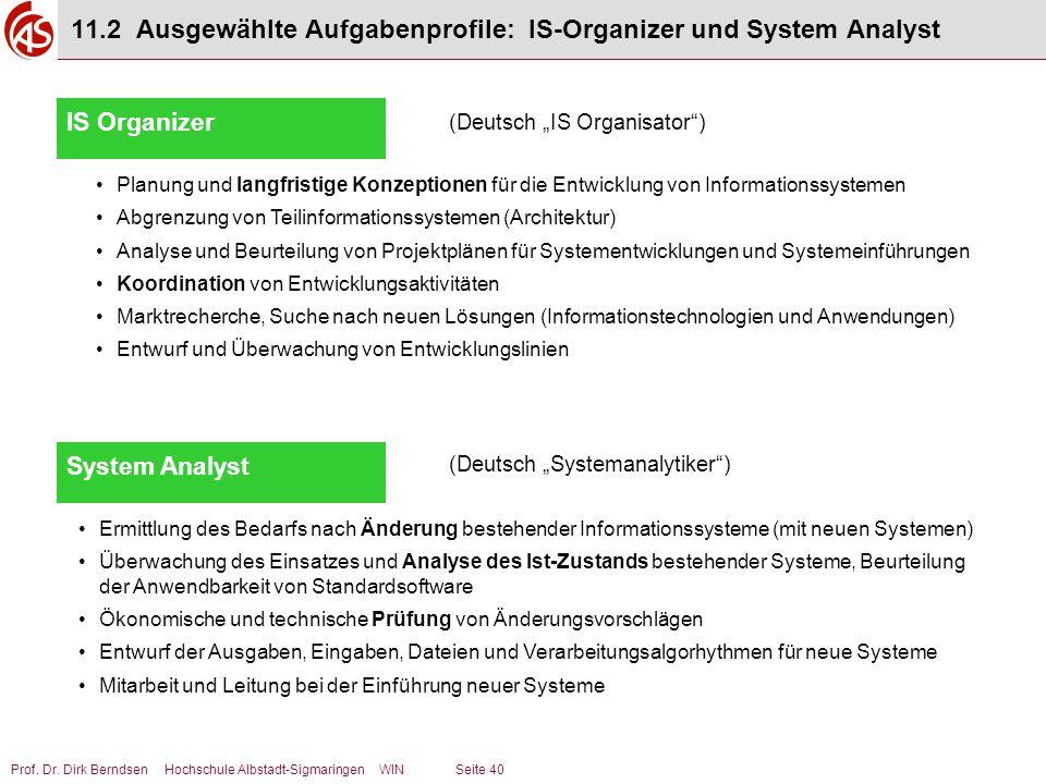 Prof. Dr. Dirk Berndsen Hochschule Albstadt-Sigmaringen WIN Seite 40 11.2 Ausgewählte Aufgabenprofile: IS-Organizer und System Analyst IS Organizer Pl