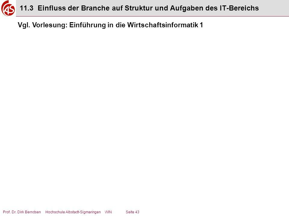 Prof. Dr. Dirk Berndsen Hochschule Albstadt-Sigmaringen WIN Seite 43 11.3 Einfluss der Branche auf Struktur und Aufgaben des IT-Bereichs Vgl. Vorlesun