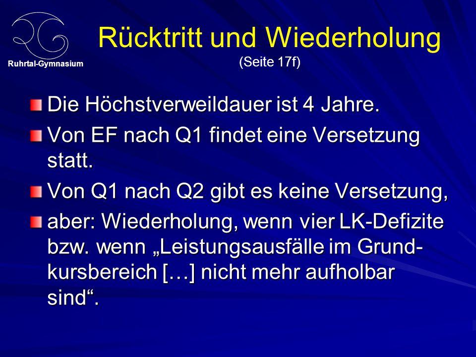 Ruhrtal-Gymnasium Rücktritt und Wiederholung (Seite 17f) Die Höchstverweildauer ist 4 Jahre. Von EF nach Q1 findet eine Versetzung statt. Von Q1 nach