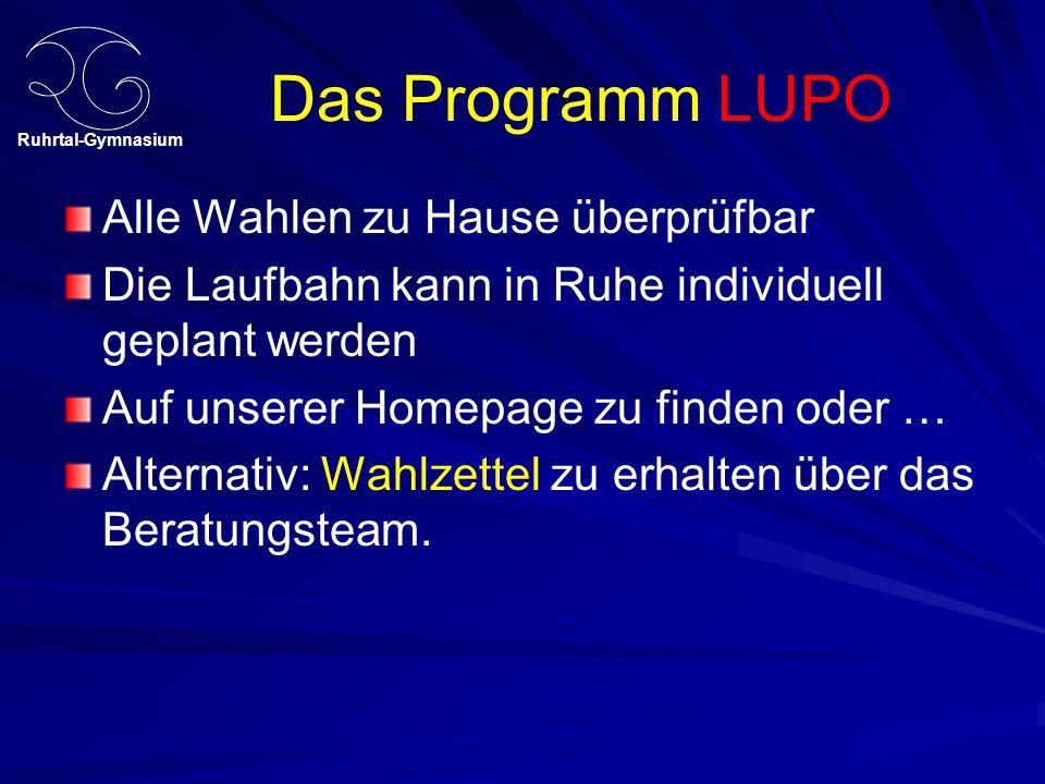 Ruhrtal-Gymnasium Das Programm LUPO Alle Wahlen zu Hause überprüfbar Die Laufbahn kann in Ruhe individuell geplant werden Auf unserer Homepage zu finden oder … Alternativ: Wahlzettel zu erhalten über das Beratungsteam.