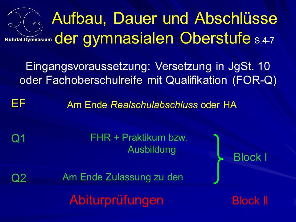 Ruhrtal-Gymnasium Aufbau, Dauer und Abschlüsse der gymnasialen Oberstufe S.4-7 EF Q1 Q2 Eingangsvoraussetzung: Versetzung in JgSt. 10 oder Fachobersch
