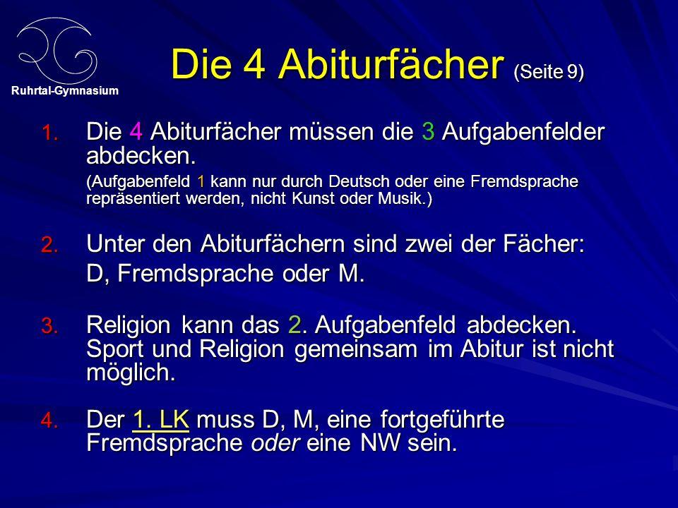 Ruhrtal-Gymnasium Die 4 Abiturfächer (Seite 9) 1. Die 4 Abiturfächer müssen die 3 Aufgabenfelder abdecken. (Aufgabenfeld 1 kann nur durch Deutsch oder