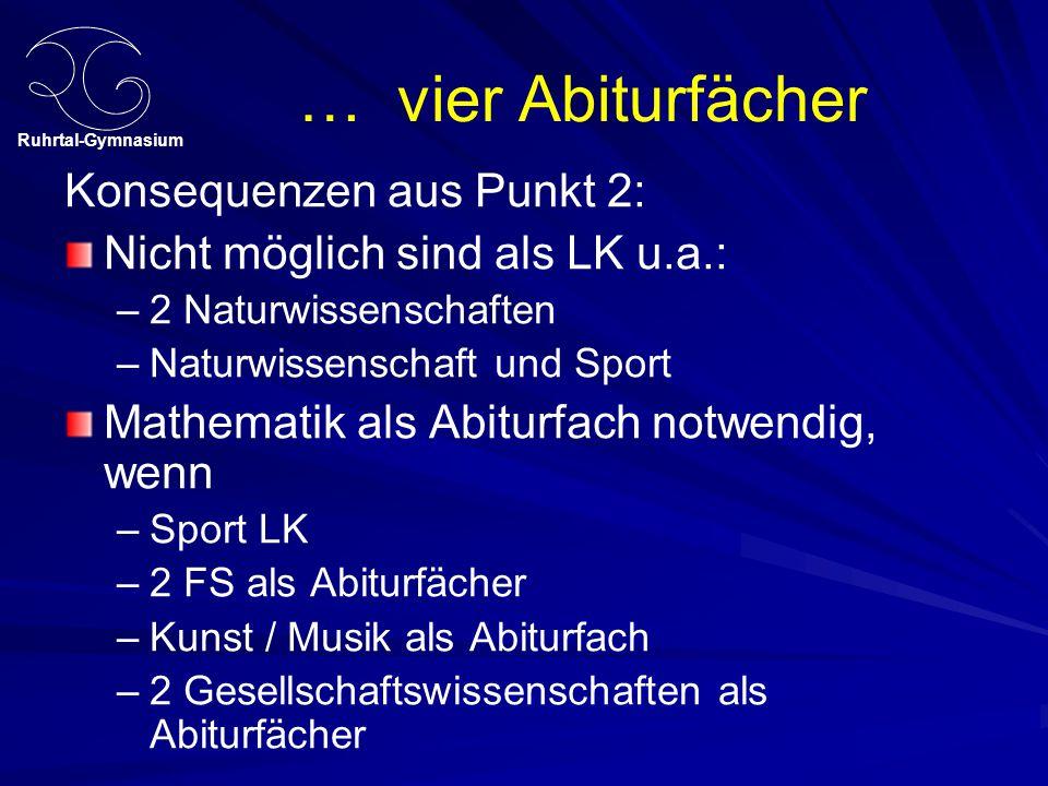 Ruhrtal-Gymnasium … vier Abiturfächer Konsequenzen aus Punkt 2: Nicht möglich sind als LK u.a.: – –2 Naturwissenschaften – –Naturwissenschaft und Spor