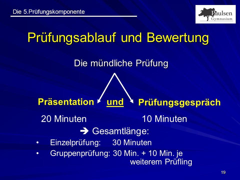 Die 5.Prüfungskomponente 19 Prüfungsablauf und Bewertung Die mündliche Prüfung Präsentation Prüfungsgespräch und 20 Minuten 10 Minuten  Gesamtlänge: