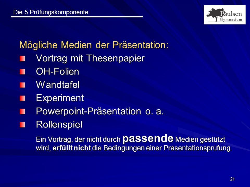 Die 5.Prüfungskomponente 21 Mögliche Medien der Präsentation: Vortrag mit Thesenpapier OH-FolienWandtafelExperiment Powerpoint-Präsentation o. a. Roll