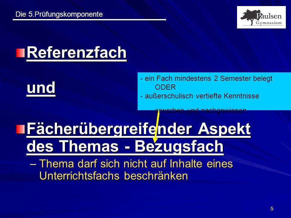 """Die 5.Prüfungskomponente 26 Zum Nachlesen Handreichung """"Die fünfte Prüfungskomponente im Abitur als pdf-Datei herunterzuladen von: www.paulsengymnasium.de"""