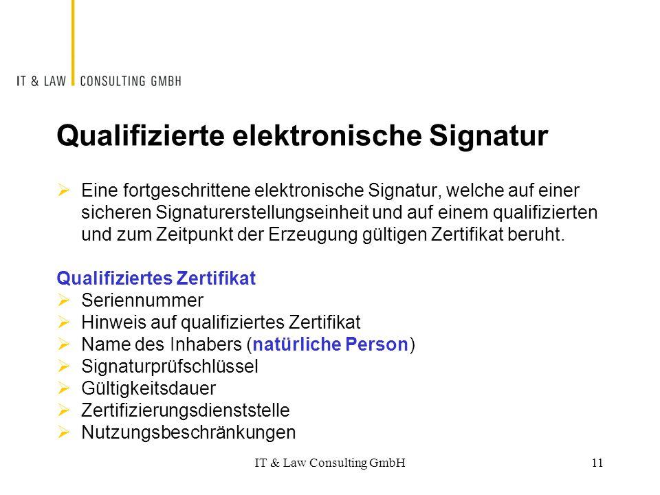 Qualifizierte elektronische Signatur  Eine fortgeschrittene elektronische Signatur, welche auf einer sicheren Signaturerstellungseinheit und auf eine